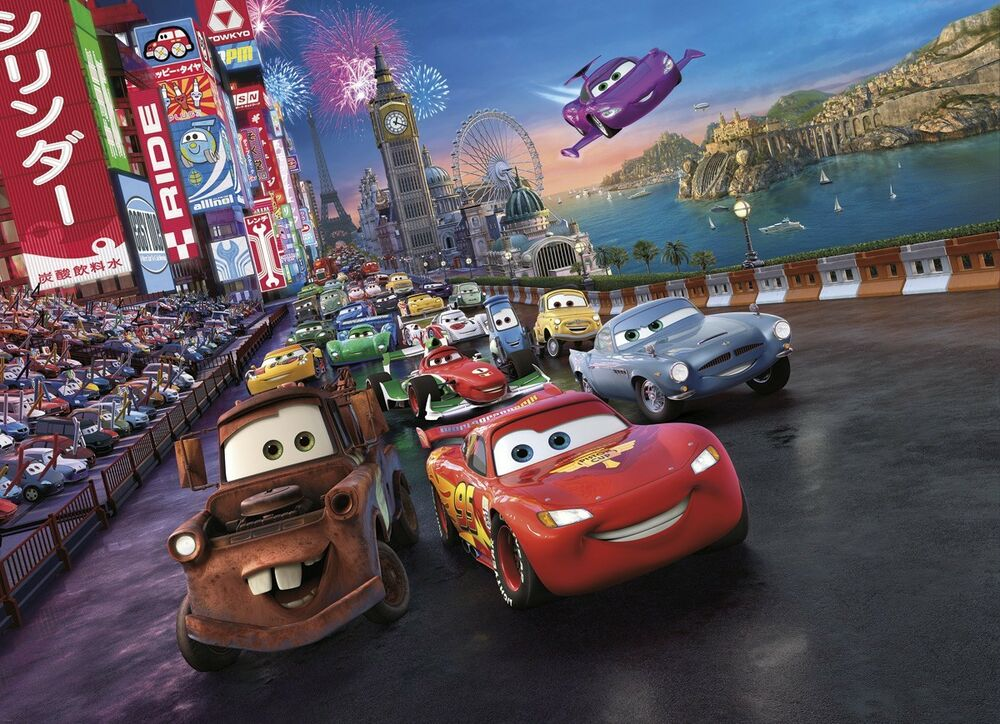 Disney Cars Mural Wallpaper Ebay Wall Mural Photo Wallpaper Cars 2 Disney For Kids Nursery
