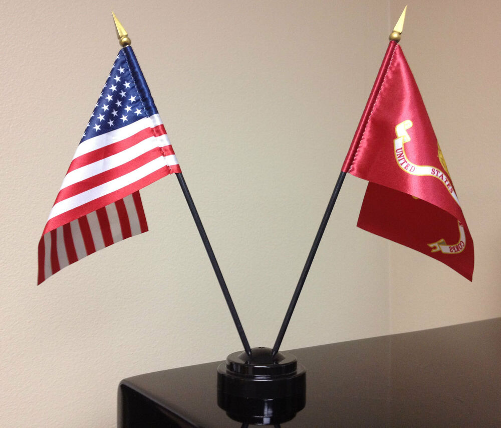 American and Marine Corps Miniature Desk Flag Set with