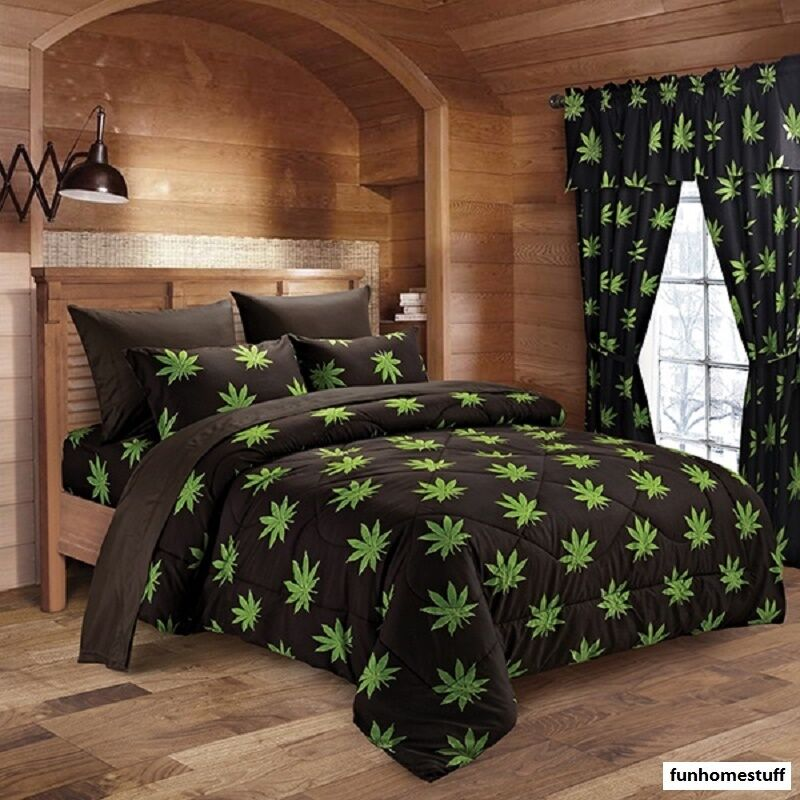POT / MARIJUANA LEAF WEED 420 MICROFIBER BED SHEETS SUPER