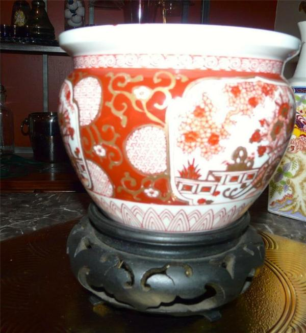Lovely Gold Imari Fish Bowl Planter Wooden Stand