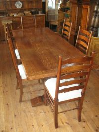 Oak Refectory / Dining / kitchen Table and 6 Oak Ladder ...
