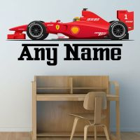 PERSONALISED F1 RACE CAR WALL STICKER BOYS NAME BEDROOM ...