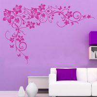 LARGE Butterfly Vine Flower Wall Sticker Removable Home ...