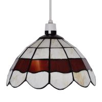 Retro Style Cream & Red Stained Glass Ceiling Pendant