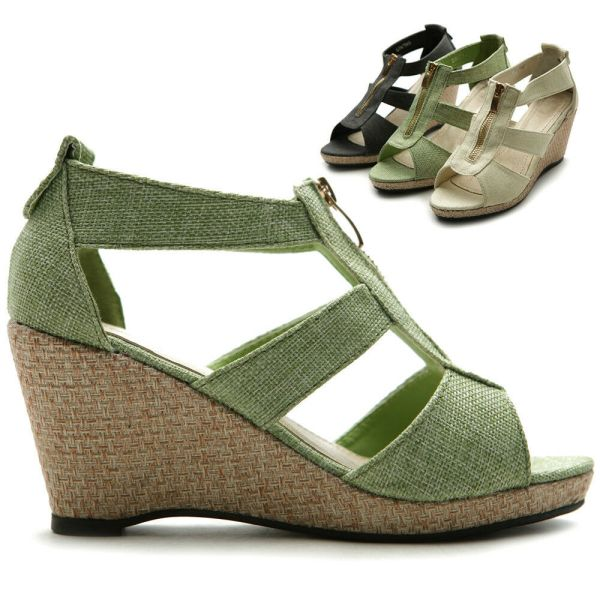 Wedge Shoes with Zipper Front