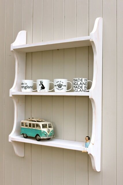 9quot Deep 3 Tier Shabby Chic White Wash Wall Shelf Book