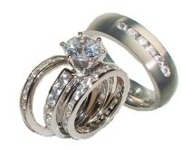 His and Hers Wedding Rings 4 Piece Cz Ring Set Sterling ...