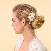 elegant bridal hair comb silk flower