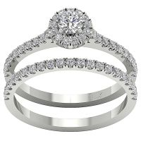 Halo Engagement Bridal Ring Band Set 1.01 Ct Real Diamond ...