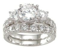 2.28 CARAT .925 STERLING SILVER ROUND 3 STONE WEDDING ...