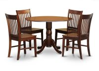 5PC DINETTE KITCHEN DINING SET ROUND TABLE with 4 WOOD ...