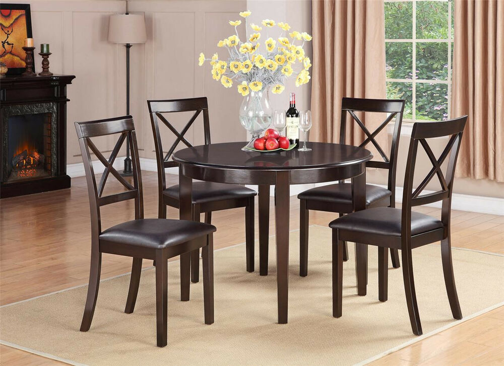 5PC SET ROUND DINETTE KITCHEN DINING TABLE with 4 FAUX LEATHER CHAIRS CAPPUCCINO  eBay