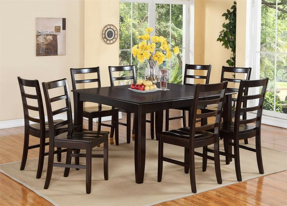 9PC DINETTE DINING ROOM SET TABLE  8 PLAIN WOOD SEAT