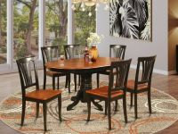 7PC AVON OVAL KITCHEN DINING TABLE w/ 6 WOOD SEAT CHAIRS
