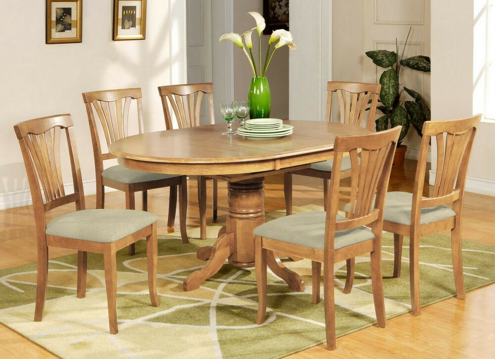 7PC AVON OVAL DINETTE KITCHEN DINING TABLE w 6 UPHOLSTERY CHAIRS IN LIGHT OAK  eBay