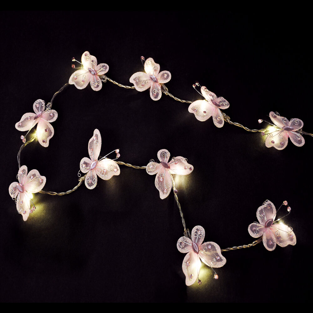 Pair Of Battery Operated Pink Butterfly Girls Led Chain