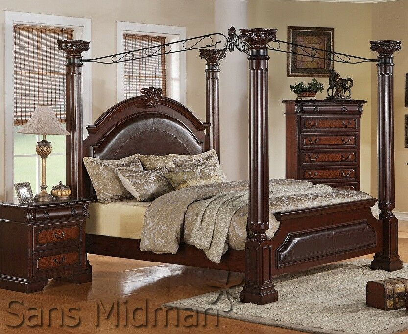 Empire Queen Poster Canopy Bed And 1-Nightstand Set For
