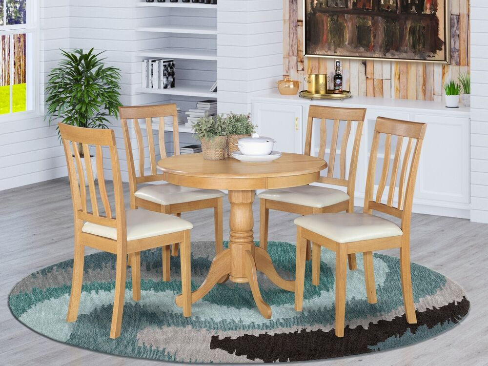5PC DINETTE KITCHEN DINING SET TABLE WITH 4 FAUX LEATHER SEAT CHAIRS LIGHT OAK  eBay