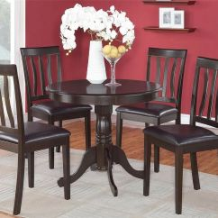Round Oak Table And 6 Chairs Metal Folding Target 5pc Dinette Kitchen Dining Set With 4 Faux Leather Seat Chairs, Cappuccino | Ebay