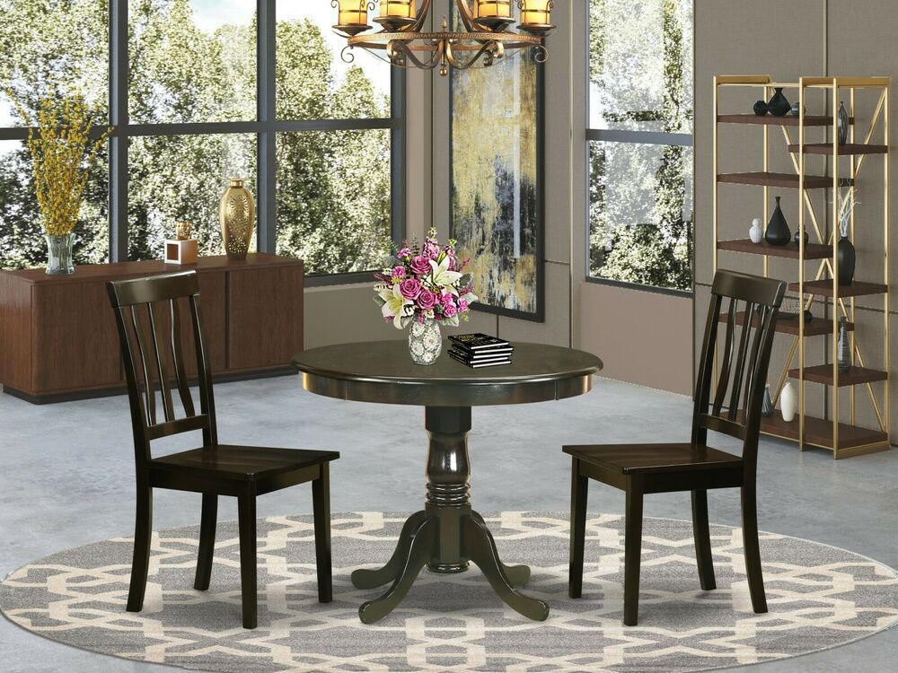 3PC DINETTE KITCHEN DINING SET TABLE WITH 2 WOOD SEAT CHAIRS IN CAPPUCCINO  eBay