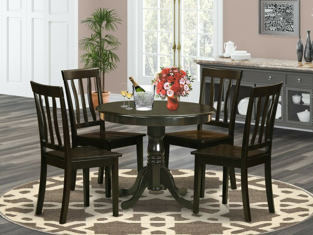 5PC DINETTE KITCHEN DINING SET TABLE WITH 4 WOOD SEAT CHAIRS IN CAPPUCCINO  eBay
