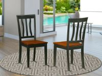 Set of 2 Antique dinette kitchen dining chairs w/ plain ...