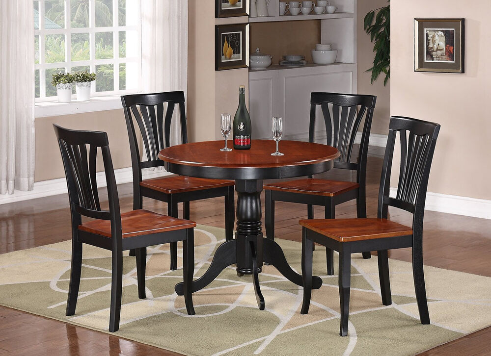 5PC DINETTE KITCHEN DINING SET TABLE WITH 4 WOOD SEAT