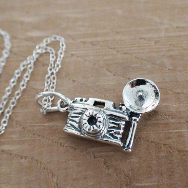 Camera Necklace - 925 Sterling Silver Charm