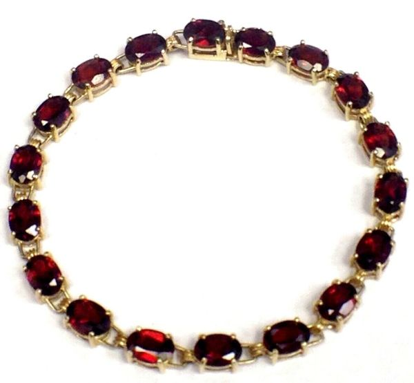 Carat Garnet 10k Yellow Gold Bracelet Womens Ladies Estate
