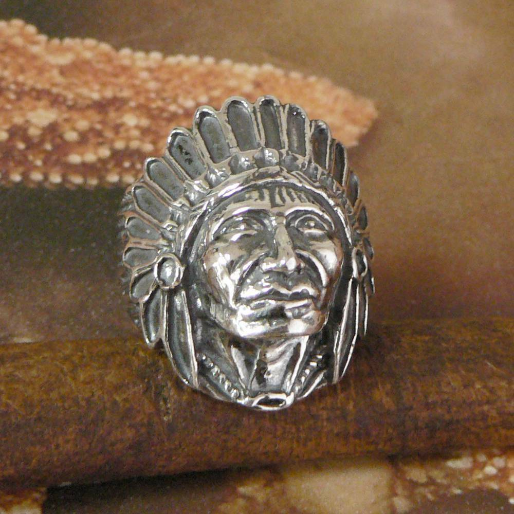 STERLING SILVER INDIAN CHIEFTAIN HEAD RING SOLID 925 NEW SIZE QZ3 JEWELLERY  eBay