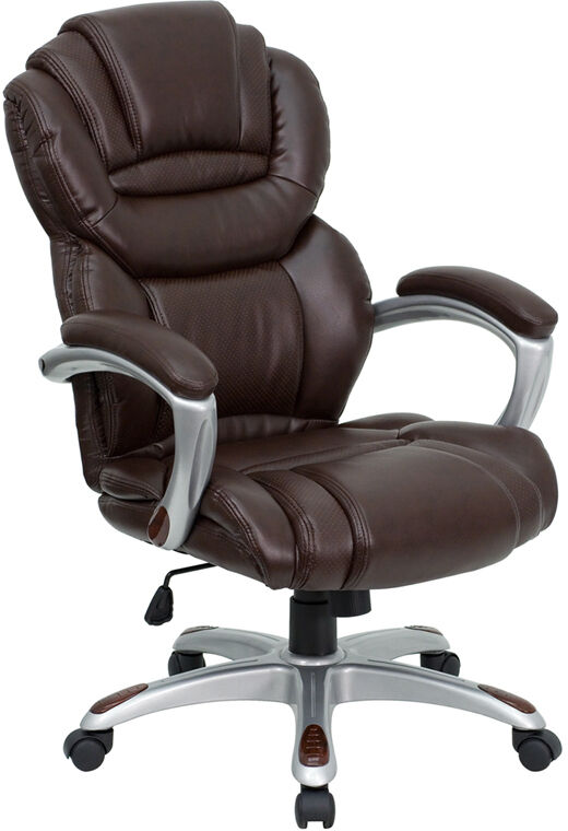 BROWN LEATHER HIGH BACK COMPUTER OFFICE DESK CHAIR  eBay