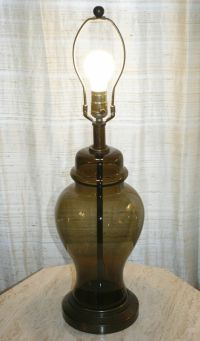 Vintage See-Through Smoke Murano Glass & Brass Table Lamp ...