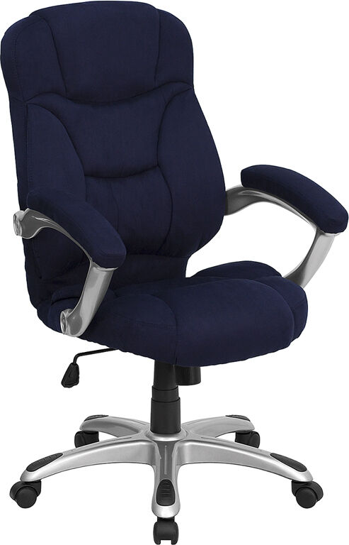 NAVY BLUE MICROFIBER FABRIC COMPUTER OFFICE DESK CHAIR  eBay