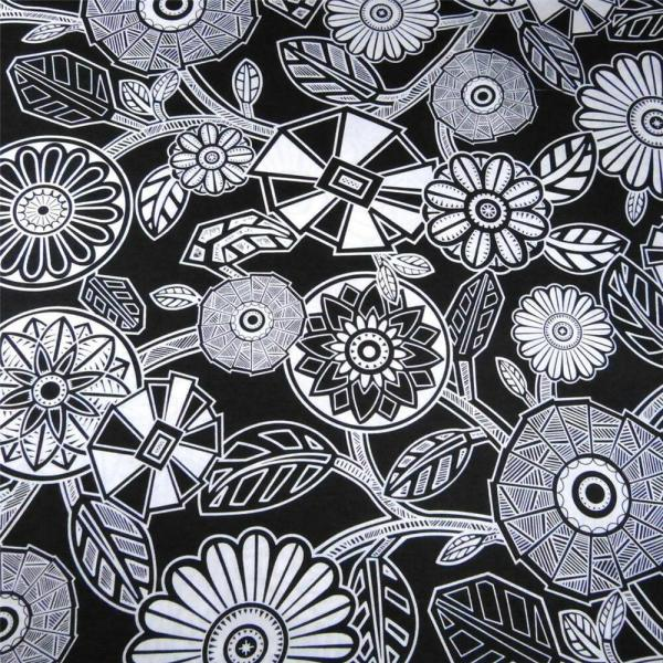 Cotton Fabric Yard Art Deco Floral In Black & White