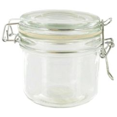 Clear Kitchen Canisters Supplies Store Mini Heremes Glass Jar Metal Clamp Top Lid 7.7oz ...