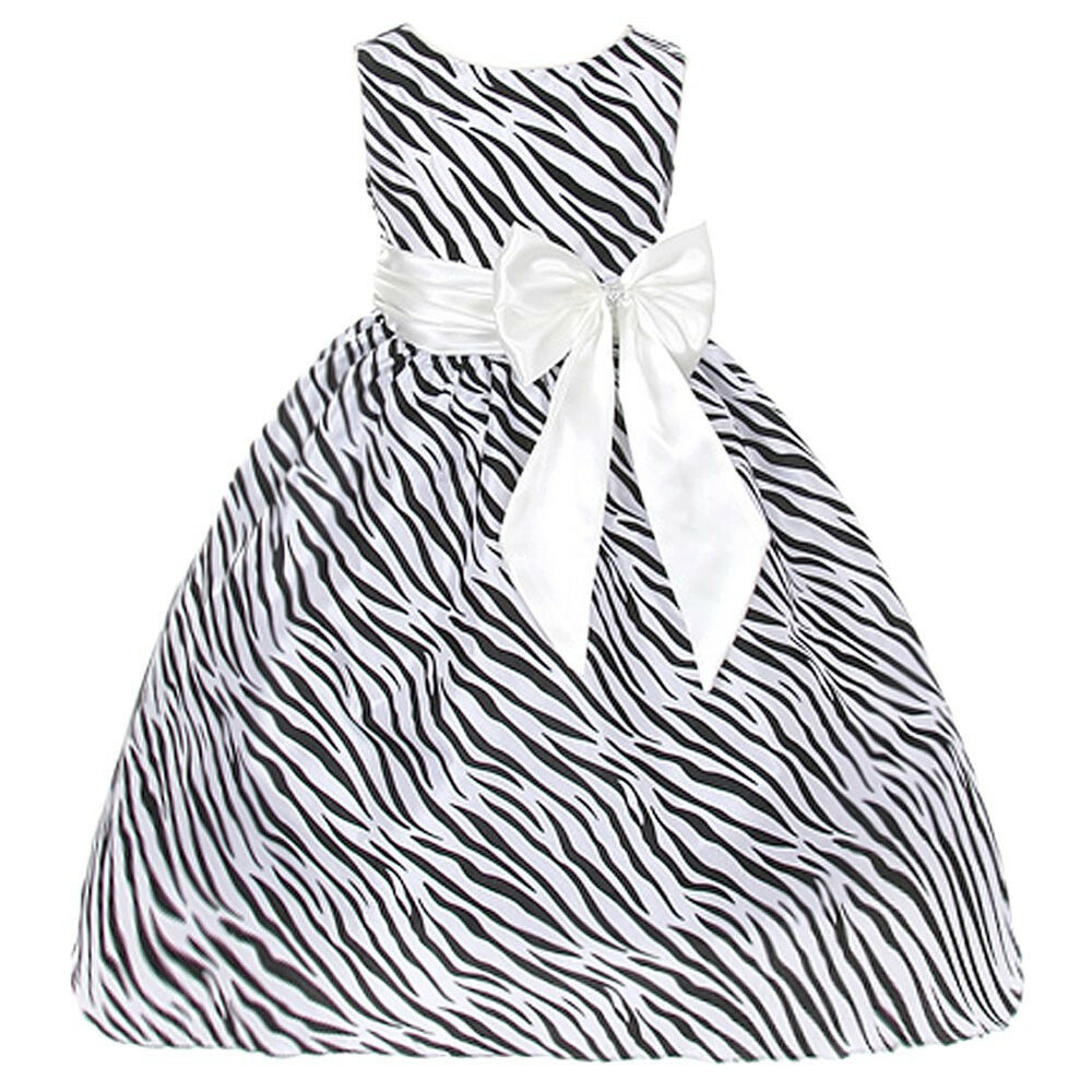 Ivory Zebra Animal print Flower girl Dresses School Event
