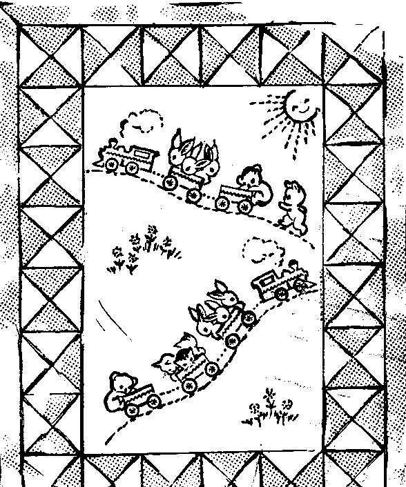 Vintage Embroidery Transfer repo 133 Baby's Train Quilt