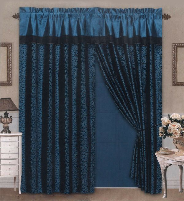 Black and Blue Window Curtains
