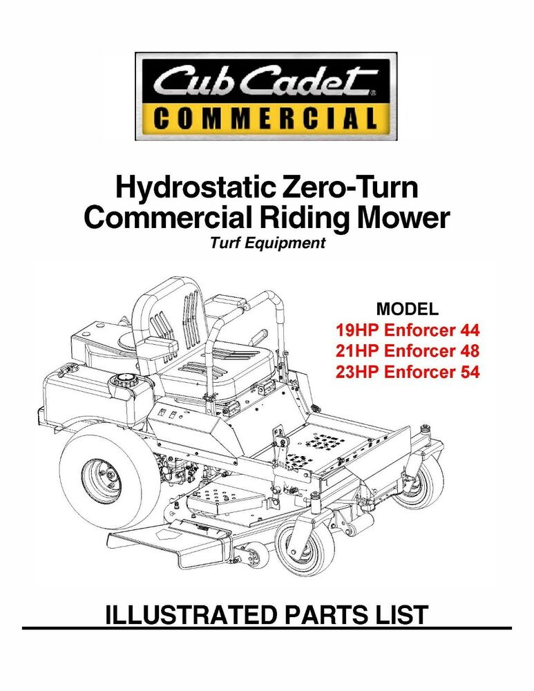 Cub Cadet Hydrostatic ZeroTurn Riding Mower Part Manual