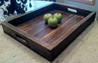 large solid wood wine serving ottoman tray 22 x 16 | eBay