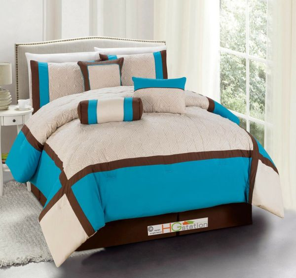7-pc Quilted Diamond Square Patchwork Comforter Set