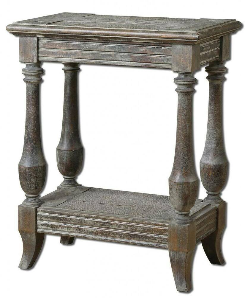 Gorgeous DISTRESSED Solid Wood Side Accent Table Weathered Rustic Cottage  eBay