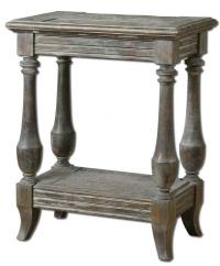 Gorgeous DISTRESSED Solid Wood Side Accent Table Weathered ...