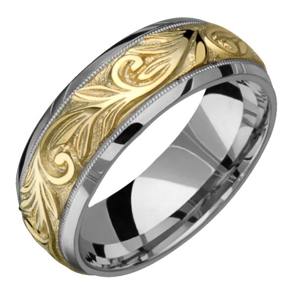 14k Yellow & White Gold Mens Custom Ring 8mm Wide Engraved Wedding Band
