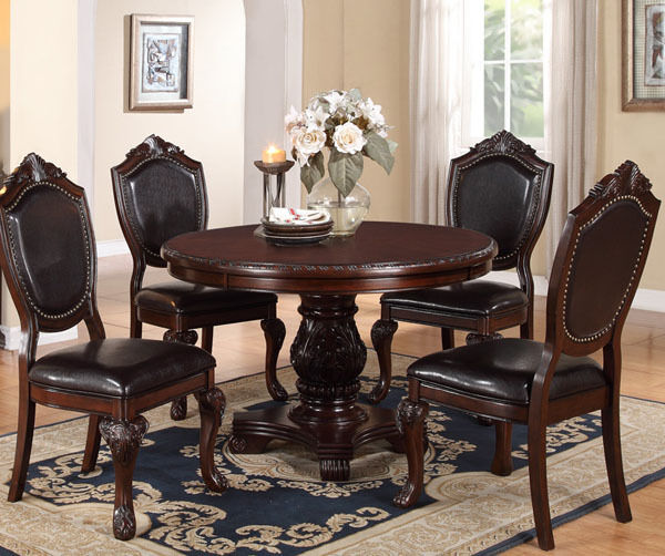 NEW 5PC STRASBOURG DARK CHERRY FINISH WOOD ROUND PEDESTAL DINING TABLE SET  eBay