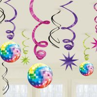 12 Assorted Disco Fever 70's Themed Birthday Party Hanging
