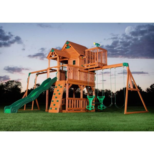 Outdoor Playhouse with Swing Set