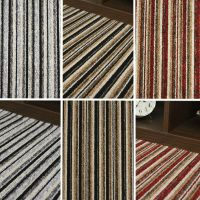 QUALITY STRIPE CARPET - BLACK GREY STRIPEY FELT CARPETS ...