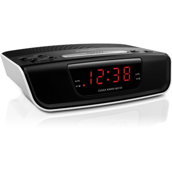 Philips Aj3123 Dual Alarm Digital Clock Radio - Red Led