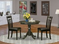 "36"" ROUND SINGLE PEDESTAL KITCHEN TABLE & 2 LEATHER CHAIRS ..."